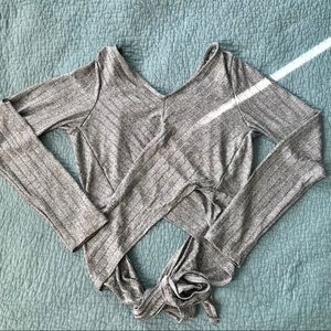 Forever 21 Silver Tie-Back Crop (long sleeve)